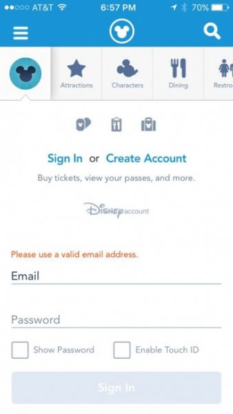 MyDisneyExperience App Log in