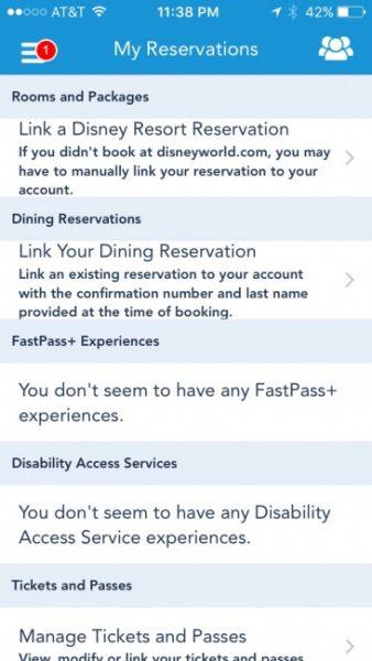 MyDisneyExperience Link Reservations