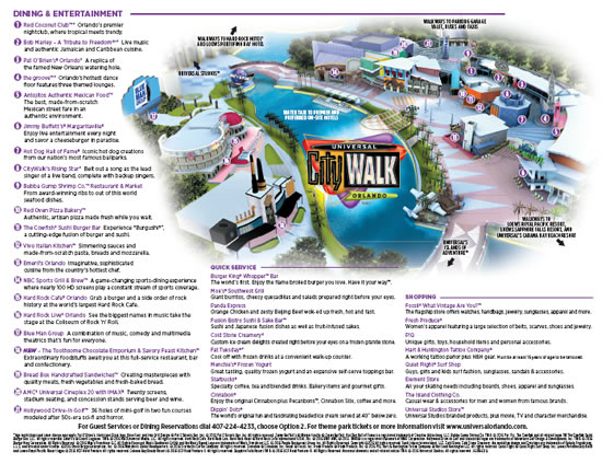 Universal CityWalk Map