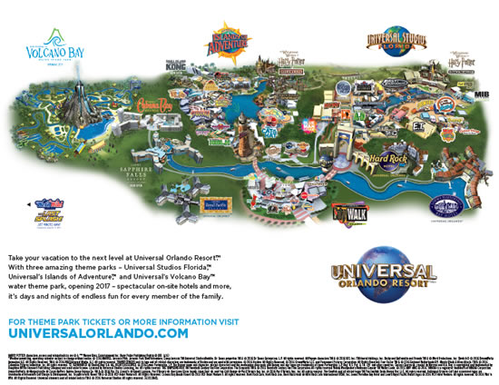 Universal Studios Orlando Park Map Universal Orlando Maps including theme parks and resort maps