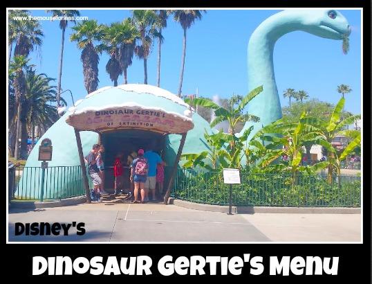 Dinosaur Gertie Menu