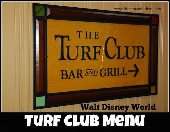 The Turf Club Lounge Menu