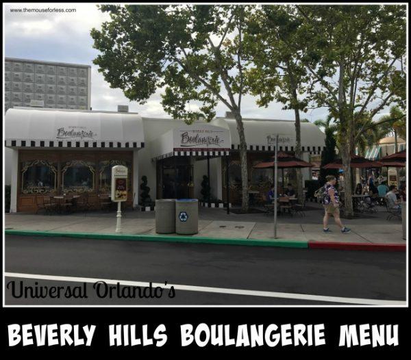 Beverly Hills Boulangerie Menu