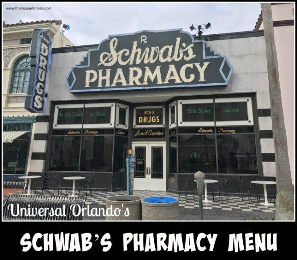 Schwab's Pharmacy Menu