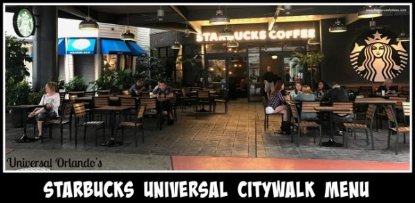 Starbucks Universal CityWalk Menu