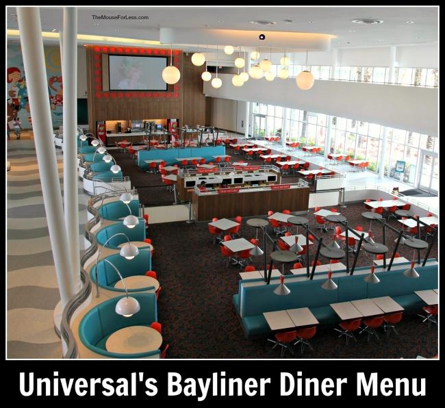 Universal's Bayliner Diner Menu