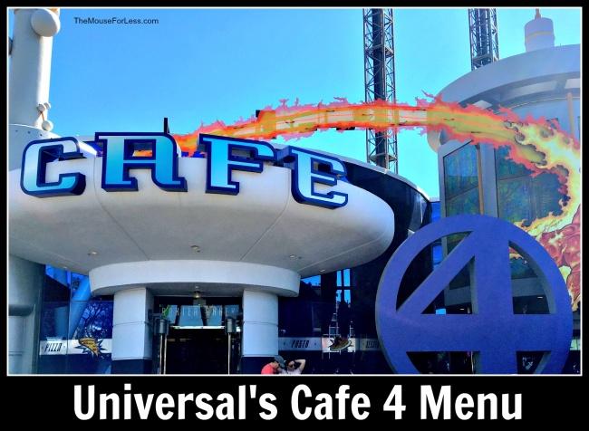 Universal's Cafe 4 Menu