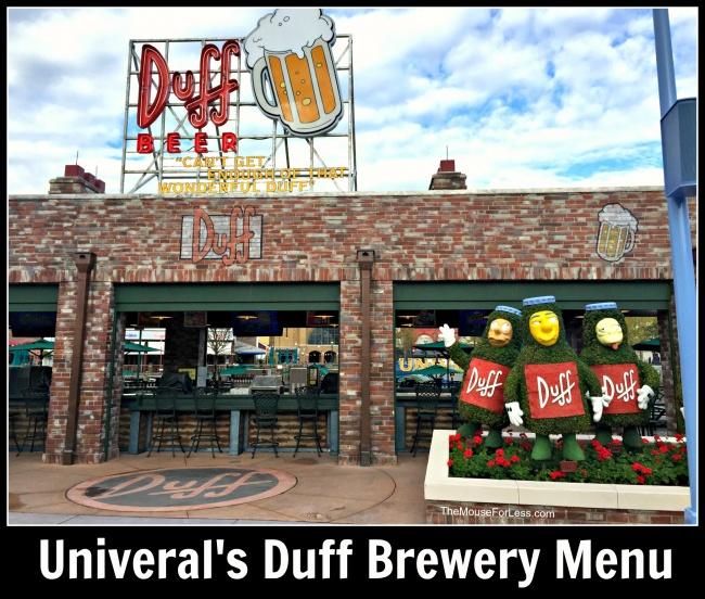 Duff Brewery Menu