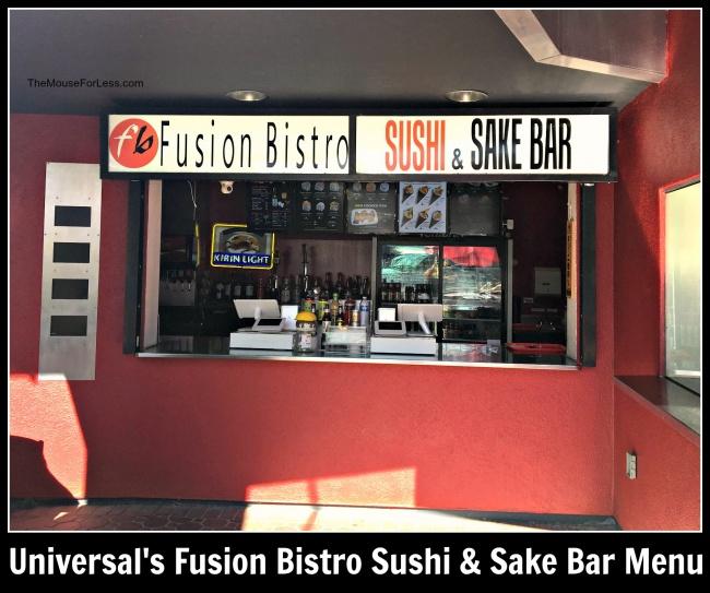 Universal's Fusion Bistro Sushi & Sake Bar Menu