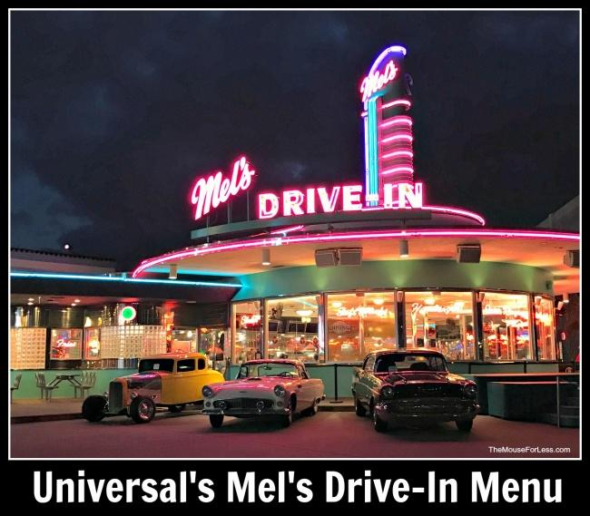 Mel S Drive In Menu Universal Studios Florida At