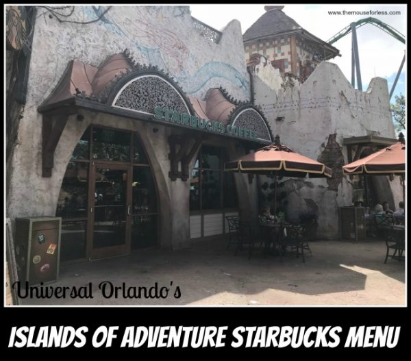 Islands of Adventure Starbucks Menu