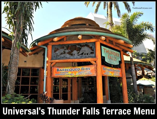 Universal's Thunder Falls Terrace Menu
