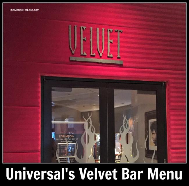 Universal's Velvet Bar Menu