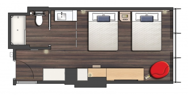 Universal's Aventura Hotel room layout