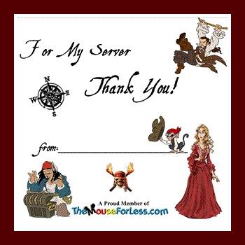 Disney Gratuity Envelopes