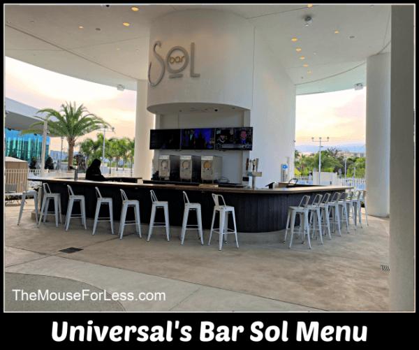 Universal's Bar Sol Menu