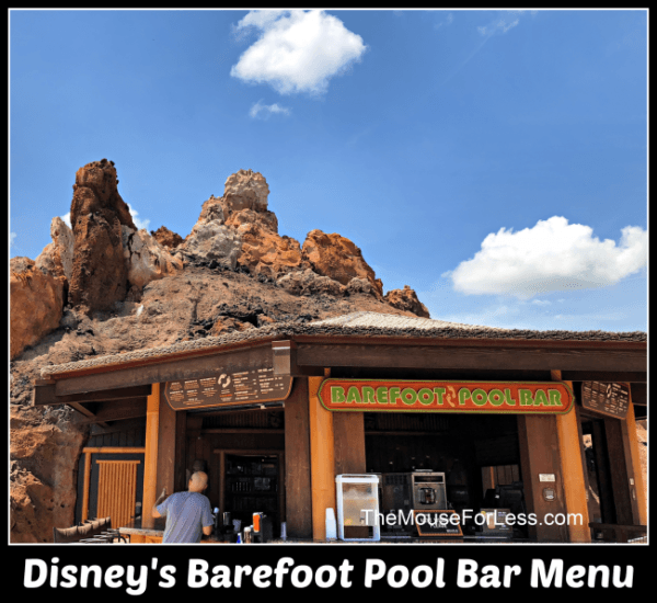 Barefoot Pool Bar Menu