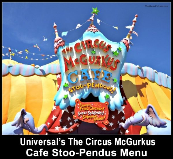 Circus McGurkus Cafe Stoo-Pendous Menu
