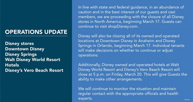 coronavirus operations update for Disney stores Downtown Disney Disney Springs Walt Disney World Resort Hotels Disney Vero Beach Resort
