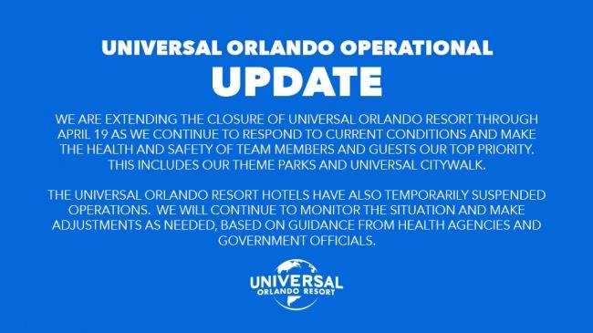 Universal Orlando Operational Coronavirus Update