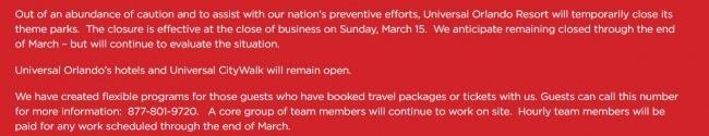 Universal Orlando Resort Closing Due to Concerns of Coronavirus