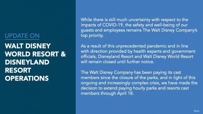 Walt Disney World Resorts & Disneyland Resorts Operations on coronavirus