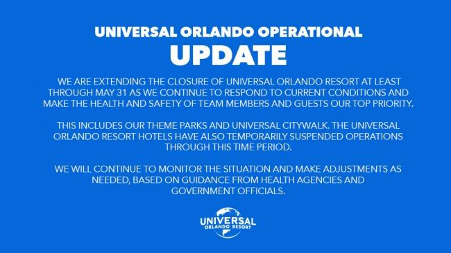 Universal Orlando Resort to Remain Closed Through May 31 Due to Coronavirus