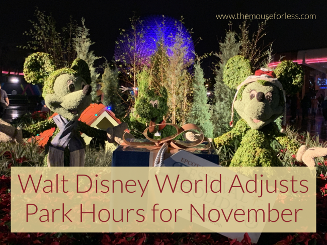 Park Hours for November 2020 at Walt Disney World