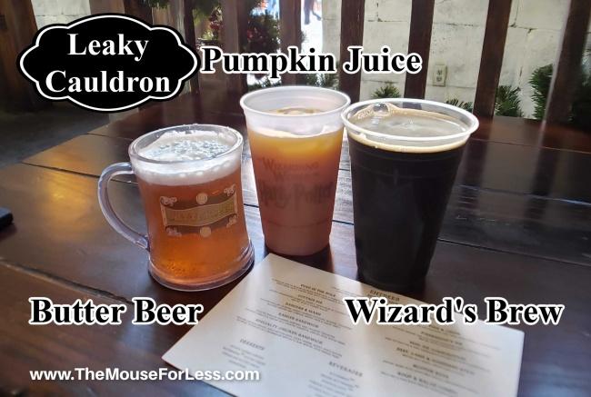 Leaky Cauldron Menu Drinks