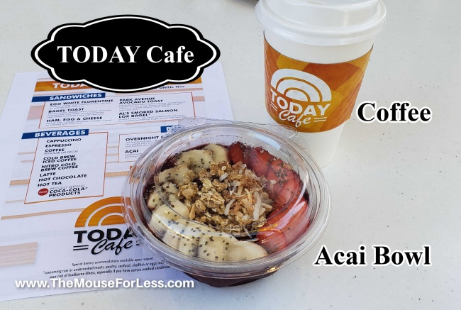 Today Cafe Menu with Coffee and Acai Bowl
