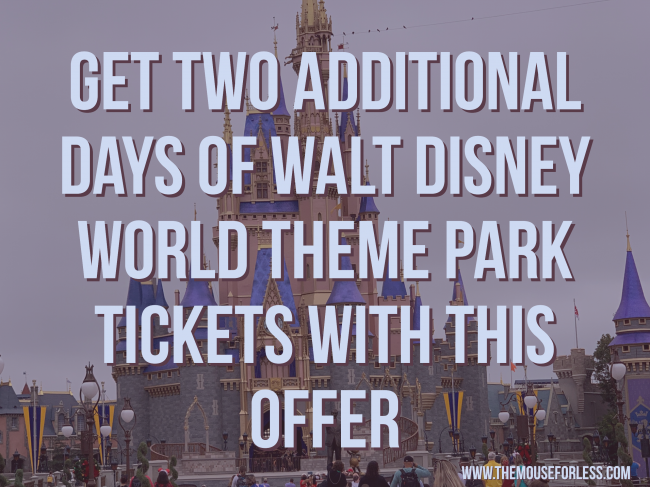 Get Two Additional Theme Park Days With New Walt Disney World Offer
