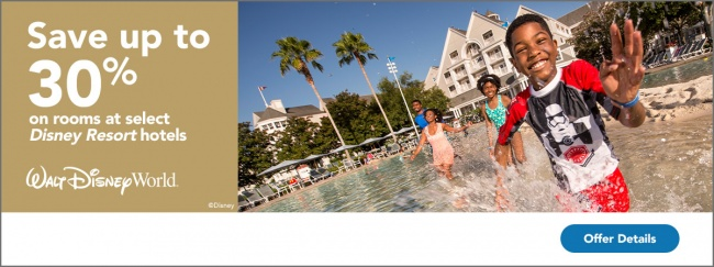 Save up to 30% on Rooms at Walt Disney World
